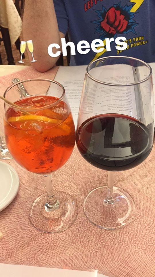 Aperol Spritz and Wine